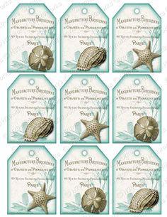 Aqua White Shabby Chic Shells Digital Tags on by H20worksDesigns, $4.50