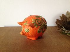 PIG RETRO ORANGE Plaster Pig with Flower by AnnmarieFamilyTree