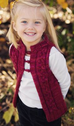 Knitting pattern for Dulce Cable Vest for babies and kids