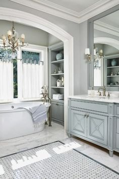 Beautiful Bathroom Design - Love The Tub In The Alcove #HomeDesign #Bathroom