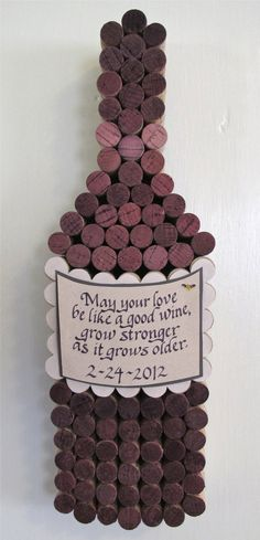 cork wine bottle - Click image to find more DIY - how cute is this for a wedding gift?! May your love be like good wine that views better as time goes on - so sweet!! Best wedding present or couple present ever - great for a wine bar