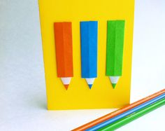 Crayons! Origami, Crayons, Etsy, Plush, Cards, Paper, Paper Folding