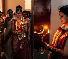 A Malayalee tradition.new bride brings a lighted lamp to the prayer space in her new marital home. South Indian Weddings, South Indian Bride, Long Braids, Groom Wear, Wedding Photo Inspiration, Before Us, Where The Heart Is, Wedding Photos, Wedding Ideas