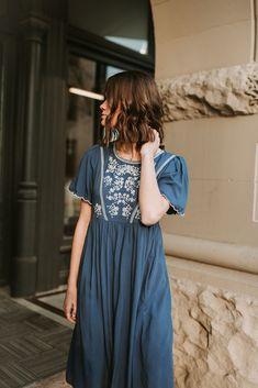 THE MEGAN EMBROIDERED EMPIRE DRESS IN CAROLINA BLUE Modest Dresses, Casual Dresses, Nice Dresses, Boho Outfits, Cute Outfits, Sunday Clothes, Carolina Blue, Feminine Style, Stitch Fix Outfits
