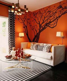 How To Decorate Living Room Walls With Murals; Love The Orange And Black  And White Color Scheme