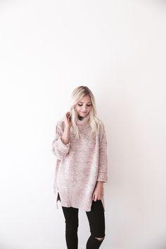 Pink Knit Turtleneck Sweater