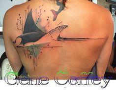 Gene Coffey stingray Sibling Tattoos, Dad Tattoos, Family Tattoos, Cute Tattoos, Body Art Tattoos, Manta Ray Tattoos, Shark Tattoos, Animal Tattoos, Sea Life Tattoos