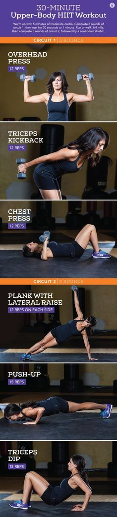 Upper-Body Workout for Women: 6 HIIT Exercises with DumbbellsYou can find Workout upper body and more on our website.Upper-Body Workout for Women: 6 HIIT Exercises with Dumbbells Upper Body Hiit Workouts, Upper Body Workout For Women, Fitness Workouts, At Home Workouts, Fitness Motivation, Workout Tips, Workout Plans, Workout Circuit, Arm Workouts