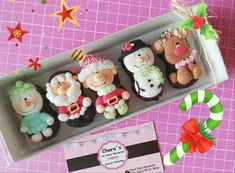 Fancy Cookies, Cupcake Cookies, Christmas Cookies, Cupcakes, Fondant Figures, Fondant Cakes, Christmas Clay, Christmas Crafts, Decorated Marshmallows