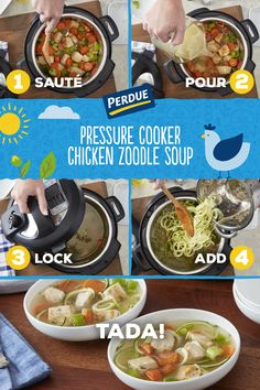 With a pressure cooker and diced chicken, a homestyle chicken soup with veggie 'zoodles' takes no time at all! Slow Cooker Shredded Chicken, Pressure Cooker Chicken, Pressure Cooker Recipes, Pressure Cooking, Healthy Eating Recipes, Paleo Recipes, Low Carb Recipes, Soup Recipes, Cooking Recipes