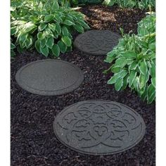 Envirotile Reversible Scroll 18 in. x 18 in. Terra Cotta Round Rubber Stepping Stone-MT5000987 at The Home Depot