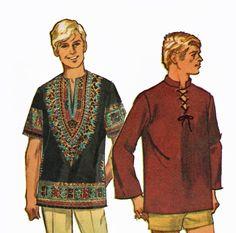 Retro 1960s Mens Dashiki or Laced Tunic Hippie Shirt by TheOldLeaf, $7.99 #HippieCostume #Halloween #TheOldLeaf