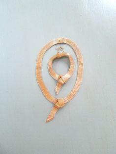 Wide Knot Gold Necklace Bracelet Set Vintage by looseendsvintage, $37.00