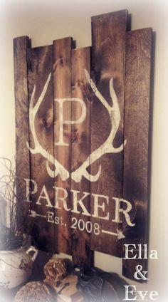 Parker Sign : Antler Monogram Last Name & Est Year