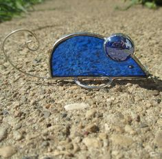 Blue Mouse 3-D Stained Glass Home Decor by FiveSparrows on Etsy