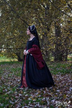 For orders only Black Tudor court gown Anne Boleyn by IlFioreNero
