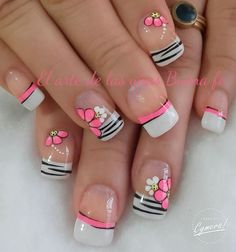 The roundup of best spring manicure ideas with color-blocked pastels, French tips, colorful floral elements and more. Spring nail art ideas to make your nail designs look stunning! French Nail Designs, Nail Designs Spring, Toe Nail Designs, Nails Design, Spring Design, French Tip Nail Art, Fingernail Designs, Fancy Nails, Diy Nails