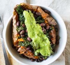A loaded sweet potato is a delicious low-cholesterol recipe.