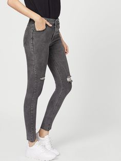 ROMWE offers Solid Washed Destroyed Jeans   more to fit your fashionable  needs. 697e2cd4cc72