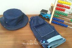 conjunto de calções e chapéu reversível handmade