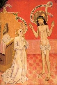 Den heliga Birgitta - Stockholmskällan 1450-1475 Detail of an Altar Cabinet, Appuna kyrka, Ostergotland