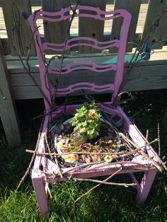 An old chair to decorate a garden.