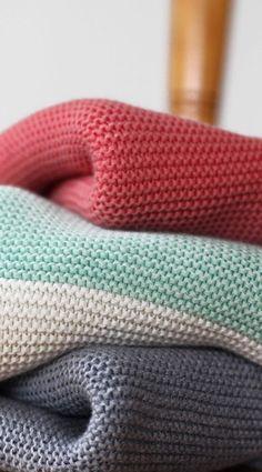 100% cotton baby blanket in garter stitch