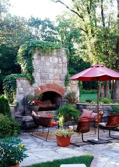 Flagstone patio and fieldstone fireplace