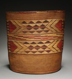 Cooking Basket, late 1800s | Northwest Coast, Tlingit | Spruce root; twined, false embroidery