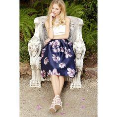 Fallen Petal Navy Blue Floral Print Midi Skirt ($48) ❤ liked on Polyvore