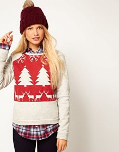 Image 1 of ASOS Sweatshirt with Christmas Fairisle Print