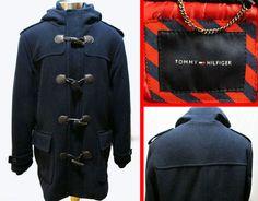 Tommy Hilfiger Faux Horn Toggle Wool Blend Hooded Coat Jacket Sz L Navy #TommyHilfiger #BasicCoat #preppy #toggle #mensfashion