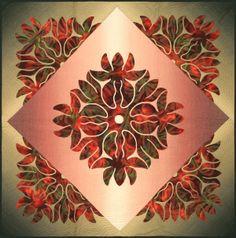 """Hawaiian Quilt"" by YH Choe 112cm*112cm Hawaiian Quilt Patterns, Hawaiian Pattern, Applique Quilt Patterns, Hawaiian Quilts, Applique Designs, Quilting Tips, Quilting Designs, Aplique Quilts, Hawaiian Crafts"