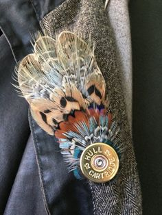 Medium size Pheasant Game Feather Brooch Pin with Shotgun