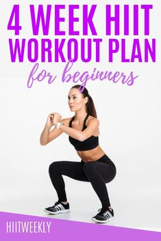 Improve your fitness and lose weight with our 4 week workout plan for beginners that takes you through body weight only exercises that you can do at home. No equipment 4 week workout routine for beginners. Pilates Workout, Fitness Workouts, Hiit Workouts For Men, Hitt Workout, Hiit Workout At Home, Cardio Training, Fitness Logo, Cardio Hiit, Squats Fitness