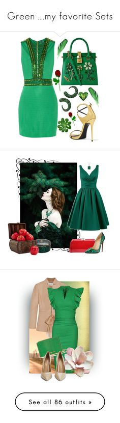 """Green ....my favorite Sets"" by deborah-518 ❤ liked on Polyvore featuring Balmain, Dolce&Gabbana, Giuseppe Zanotti, Faraone Mennella by R.F.M.A.S., Tiffany & Co., MKF Collection, Effy Jewelry, Prouna, Nearly Natural and red"