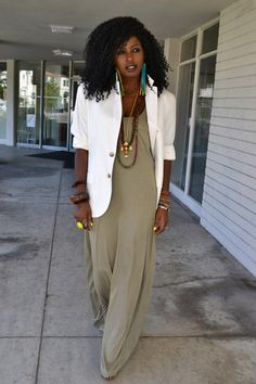 Maxi Dress and Blazer - Love this look!