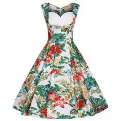 Floylyn Women Floral 1950s Pleated Dress Sleeveless Summer Vintage Flowers Dress Plus Size XS - 4XL Tunic Vestidos