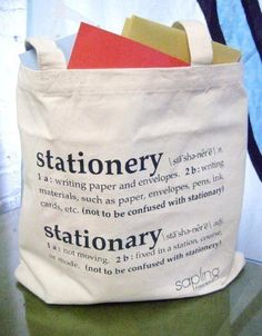 Stationery/Stationary Tote from Shopsaplingpress on Etsy, $15