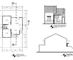 Denah Rumah Dan Tampak - Kreasi Rumah Type 45, Home Design Plans, Autocad, Floor Plans, House Design, Flooring, How To Plan, Modern, Trendy Tree