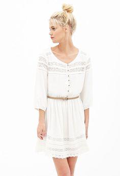 Crochet-Paneled Peasant Dress #F21StatementPiece