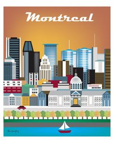 Montreal, Canada wall art is available in an array of finishes, materials, and sizes, this retro inspired wall art will make Montreal feel close to your heart with its bright color palette and unique
