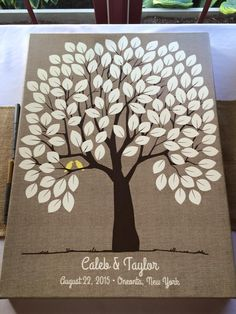 Burlap Wedding Tree Canvas | Guest Book Alternative | Rustic Wedding | Customer Photo | Wedding Color - Yellow | peachwik.com