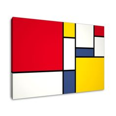 Abstract Canvas Art Print in the style of Piet Mondrian Piet Mondrian, Mondrian Kunst, Mondrian Dress, Cuadros Diy, Picasso Paintings, Quilt Modernen, Harlem Renaissance, Art Plastique, Geometric Art
