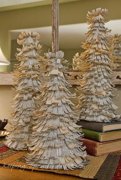christmas vintage book stack and paper trees