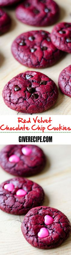 Red Velvet Chocolate Chip Cookies made from scratch. These are so chewy and chocolaty. Topped with extra chocolate chips, candies or sprinkles, these make amazing edible gifts. | giverecipe.com | #redvelvet #valentinesday