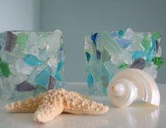 Beach Decor Sea Glass Votive - Beach Glass Candle Holder In Aqua ...