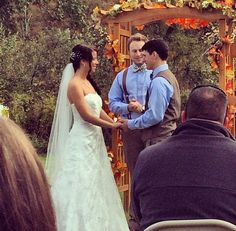 Married by the best man! He got ordained online so he could marry us :). #bestman #bestfriend #rustic #fall #farm #wedding #wv