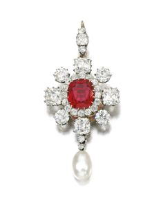 Natural pearl, spinel and diamond brooch/ pendant, Late 19th Century - Set with a cushion shaped spinel within a border of cushion-shaped and circular-cut diamonds, suspending a detachable natural pearl drop.