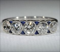 5 Stone Diamond and Sapphire Ring, French Platinum c. 1920.....Oh I am in LOVE!!!